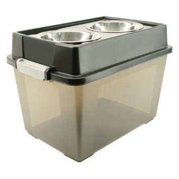 Elevated Dog Feeder Bowls With Storage Compartment.